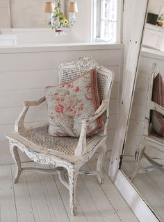Cottage Chic   In the vintage, shabby chic esq bedroom an antique cast-iron queen ...