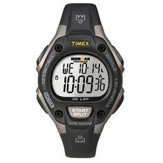 Timex T5E961 Unisex Ironman 30-Lap Grey Resin Black Bezel Case Digital Dial Black Rubber Strap Chronograph Watch