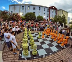"""World's greatest game of chess Pawns made of recycled lifejackets """"Wishing peace always wins"""" University of the Aegean GREECE . Chess, Greece, Dolores Park, Recycling, University, Club, Spaces, Table Decorations, Big"""