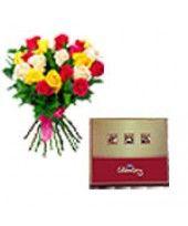 15 Mixed Roses Arrangement with Cadburys Celebration pack. 126.46 gms