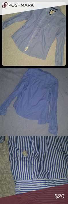 Abercrombie and Fitch button up shirt Blue and white pinstripe button up shirt. 100% cotton. Tops Button Down Shirts