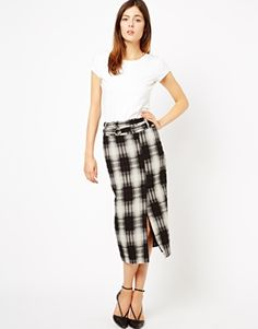 Image 1 of ASOS High Waist Pencil Skirt in Textured Check