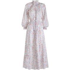 ZIMMERMANN Zephyr Folk Dress (7.632.490 IDR) ❤ liked on Polyvore featuring dresses, swim dress, summer dresses, full length dresses, cotton summer dresses and cotton floral dress