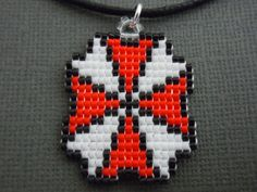 Umbrella Corporation Necklace Seed Bead Resident Evil by Pixelosis, $18.00
