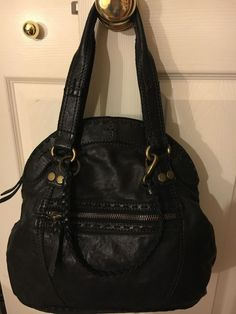 LUCKY BRAND Large Lamb Black Leather Satchel Tote Purse Bag  #LuckyBrand #Satchel