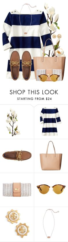 """Sailing into summer time⛵️"" by flroasburn ❤ liked on Polyvore featuring Gap, Sperry, Kate Spade, Ray-Ban, Tory Burch and Kendra Scott"