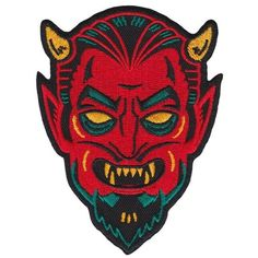 With a design reminiscent of vintage halloween masks, this devil would love to creep his way onto your favorite jacket or vest. This patch has an iron-on backing making it perfect for easily applying to the surface of your choice.