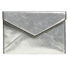 Rebecca Minkoff 'Leo' Envelope Clutch (€85) ❤ liked on Polyvore featuring bags, handbags, clutches, metallic leather handbags, metallic leather purse, rebecca minkoff handbags, genuine leather handbags and real leather purses