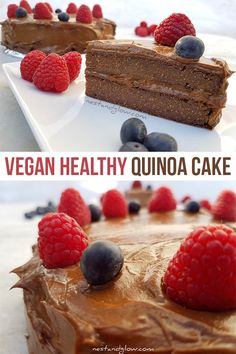 This delicious cake is flour and egg-free with a chocolate avocado frosting. It's healthy using quinoa as a base and vegan with other ingredients included. Try this yummy healthy cake option. Quinoa Chocolate Cake, Quinoa Cake, Vegan Chocolate, Chocolate Frosting, Vanilla Frosting, Chocolate Brown, Chocolate Fondue, Vegan Treats, Vegan Desserts