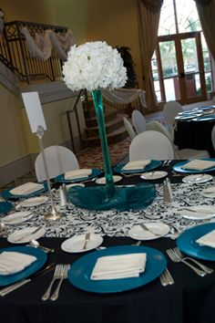 teal, black, white wedding