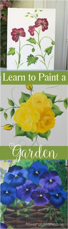 Learn How to Paint Garden Flowers FREE, online lessons with videos. Create all sorts of gorgeous paintings, decorative items or paint them on furniture. I utilize different techniques including One Stroke. FlowerPatchFarmhouse.com