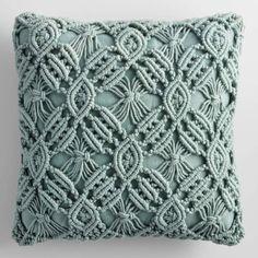 Jadeite Macrame Indoor Outdoor Patio Throw Pillow: Green - Polyester by World Market Jadeite Macrame Macrame Design, Macrame Art, Macrame Projects, Macrame Knots, Macrame Jewelry, Green Throw Pillows, Diy Pillows, Outdoor Throw Pillows, Accent Pillows