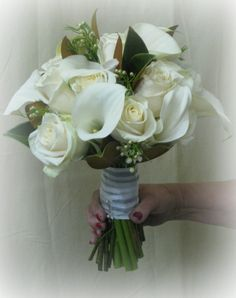 White Calla Lily and Rose Bouquet