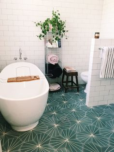 Mother and Daughter duo, Byron Bay, Australia. Art Deco Bathroom, Bathroom Plants, Modern Bathroom, Small Bathrooms, Bathroom Ideas, Scandinavian Baths, Timber Vanity, Laundry Room Inspiration, White Subway Tiles