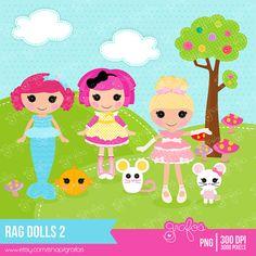 RAG DOLLS 2 Digital Clipart ,Dolls Clipart , Rag Dolls Clipart / Instant Download
