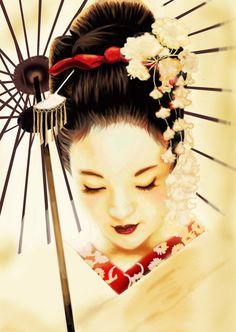White lovely beautiful geisha artwork illustration