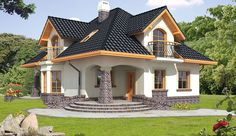 Projekt domu z poddaszem Ariadna III o pow. 135,2 m2 z dachem kopertowym, z tarasem, z wykuszem, sprawdź! Simple House Design, Cool House Designs, Style At Home, House Plants Decor, Small Windows, Affordable Housing, Bay Window, Home Fashion, Architecture Details