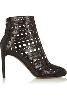 Alaïa Laser-cut leather ankle boots | THE OUTNET