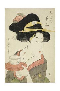 Nov 2019 - Giclee Print: Southern Teahouse by Kitagawa Utamaro : Japanese Art Prints, Japanese Poster, Japanese Painting, Chinese Painting, Chinese Art, Geisha Kunst, Geisha Art, Japanese Geisha, Vintage Japanese