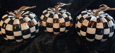Black White Check Pumpkin-Hand Painted - Fall-Halloween Decoration.