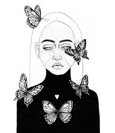 Butterfly Outline, Butterfly Drawing, Art And Illustration, Butterfly Illustration, Kunst Inspo, Art Inspo, Line Art, Art Sketches, Art Drawings