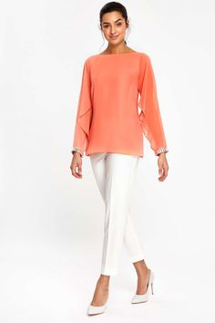 03c437554fb56 Coral Open Flute Sleeve Blouse - Tops - Clothing