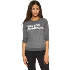 Chaser Pray For Champagne Sweatshirt (113 AUD) ❤ liked on Polyvore featuring tops, hoodies, sweatshirts, black, layered tops, off white tops, long sleeve layering tops, sweatshirts hoodies and chaser sweatshirt