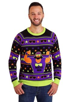 Beautiful WWE Macho Man Ugly Christmas Sweater mens ugly christmas sweater from top store Costumes For Teens, Adult Costumes, Naughty Santa, Mens Ugly Christmas Sweater, Ric Flair, Sweater Making, Being Ugly, Fashion Brands, Active Wear