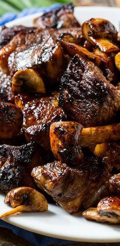 Honey Bourbon Steak Tips - Spicy Southern Kitchen