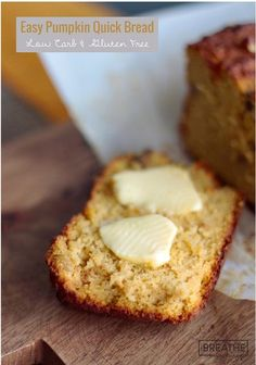 An easy pumpkin quick bread recipe that is not only delicious, but low carb, gluten free & Paleo friendly! An easy pumpkin quick bread recipe that is not only delicious, but low carb, gluten free & Paleo friendly! Keto Foods, Keto Snacks, Healthy Snacks, Low Carb Sweets, Low Carb Desserts, Quick Bread Recipes, Low Carb Recipes, Pumpkin Recipes Low Carb, Healthy Recipes