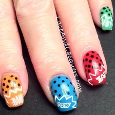 Lace and Lacquers: Comic Book Nails Comic Book Nails, Comic Books, Pop Art Nails, Polka Dot Nails, Nail Envy, Finger Painting, Creative Nails, Gorgeous Nails, Mani Pedi