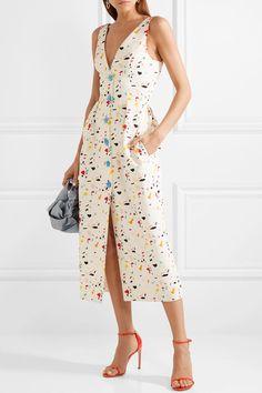 Carolina Herrera | Printed cotton-blend faille midi dress | NET-A-PORTER.COM