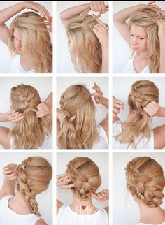 And Simple Step By Step Hairstyles For Middle Hair Hairstyles Hairstyles Hair Longhair Lightweight And Simple Step By Step Hairstyles For Middle Hair Hairstyles Hairstyles Hair Longhair Braids hair for women Tucked braid updo how to make a french braid Braided Hairstyles Updo, Updo Hairstyles Tutorials, Step By Step Hairstyles, Braided Updo, Lace Braid, Box Braid, Medium Hair Styles, Short Hair Styles, Medium Hairs