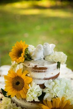 Rustic naked cake with a lovebirds cake topper and sunflowers Wedding Cake Rustic, Wedding Cakes, Small Country Weddings, Beulah Land, Cupcake Cakes, Cupcakes, Small Sunflower, Wedding Inspiration, Wedding Ideas