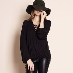 Lace Up Long Sleeve Top S m or l Bare Anthology Tops