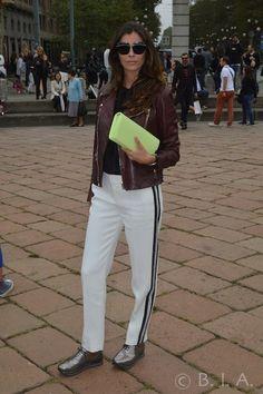 white trouses, black stripes , brown leather jacket , lime clutch - Milan -SpringSummer 15