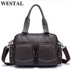 b81e08bc20 WESTAL Genuine Leather Men Bag Men Shoulder Messenger Bags Crossbody Bags  Business Men s Briefcases Handbags Leather Laptop Bag-in Totes from Luggage    Bags ...