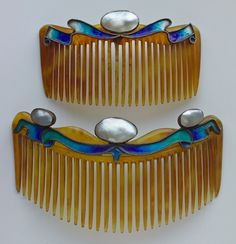 ARTS & CRAFTS  Combs   Silver Horn Enamel Pearl  British, c.1900