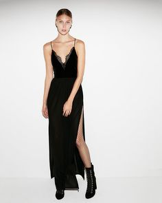 An irresistibly sexy dress that turns heads with a velvet bodice, a bodysuit-style fit and a sheer maxi skirt. Pair with heels for an ensemble that wows at parties and on-the-town.