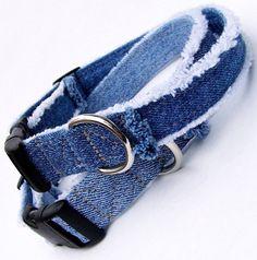 Denim Dog Collar Denim Blue Jeans Frayed by CoopersCollars Online Pet Supplies, Dog Supplies, Diy Dog Collar, Dog Collars, Buy A Dog, Dog Clothes Patterns, Dog Crafts, Dog Items, Dog Costumes