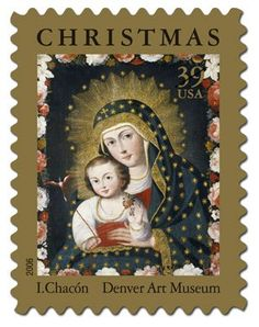 """The 2006 Christmas stamp features an oil-on-canvas entitled Madonna and Child with Bird. Dating from around 1765, the painting is attributed to Ignacio Chacón-an artist active from about 1745 to 1775 in Cuzco, Peru. It is now part of the Engracia and Frank Barrows Freyer Collection of Peruvian colonial art at the Denver Art Museum. In designing the stamp, art director Michael Osborne slightly cropped the painting's floral """"frame"""" and surrounded the entire composition with a gold border"""