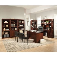Complete Executive Office with Library #homeoffice #shopthelook | National Business Furniture