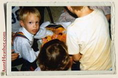 Ryan's birthday party.  Yes Ryan's wearing Mork & Mindy suspenders & yes that's the back of my head & our cousin Tim, inspecting Ryan's gifts. 1979 #AuntHeather