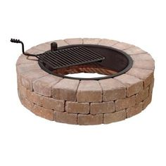 Necessories Desert Stone Fire Pit with Cooking Grate-3500007 at The Home Depot
