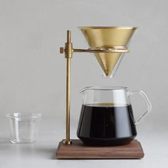 "Pour-Over Coffee Brewer Stand — but with flowers for entryway table under ""brewer"" art Coffee Dripper, V60 Coffee, Coffee Carts, Drink Coffee, Best Espresso, Espresso Coffee, Coffee Brewer, Coffee Shop, Pour Over Coffee Maker"