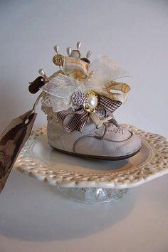 Vintage baby shoe pincushion inspiration