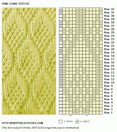 Pine Cone knit chart