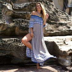 d8e4c18158557 Sexy Off-Shoulder Bikini Cover Up Women Dress Print Chiffon Beach Tunic  Long Sarongs New Ruffle Summer Dresses Swimwear Cover Up