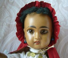 French Jumeau Brown Bisque Doll with Open Mouth and Luminous Patina