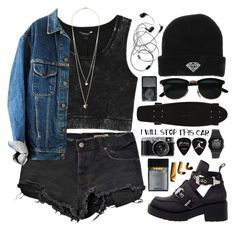 """""""grunge"""" by shaniaayr ❤ liked on Polyvore featuring Ksubi, Monki, Jeffrey Campbell, Neff, Dorothy Perkins, black, grunge and camera"""